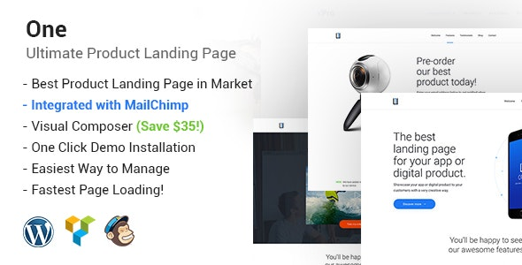 One - WordPress Product Landing Page - Portfolio Creative