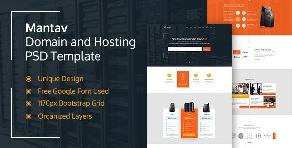 Mantav - Hosting and Domain PSD Template - Business Corporate