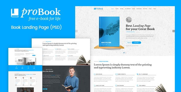 ProBook - Book Landing Page PSD - Photoshop UI Templates