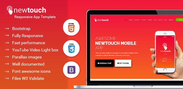 Newtouch Responsive App Template - Technology Site Templates