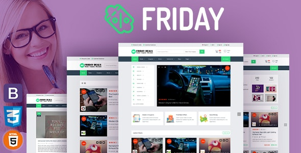 FRIDAY – Coupons, Deals, Discounts & Promo Codes Template RTL Supprt - Shopping Retail