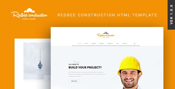 Redbee | Construction HTML Template - Business Corporate