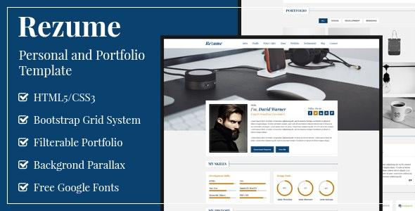 Rezume - Personal and Portfolio Template - Portfolio Creative