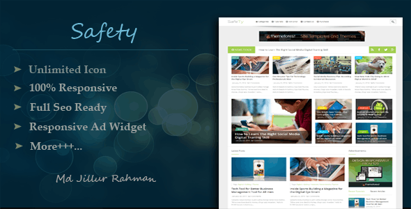 Safety - Responsive MultiPurpose Blogger Template - Blogger Blogging