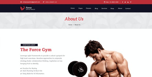 Force - Fitness & Gym Template for Health, Gyms and Yoga Centers