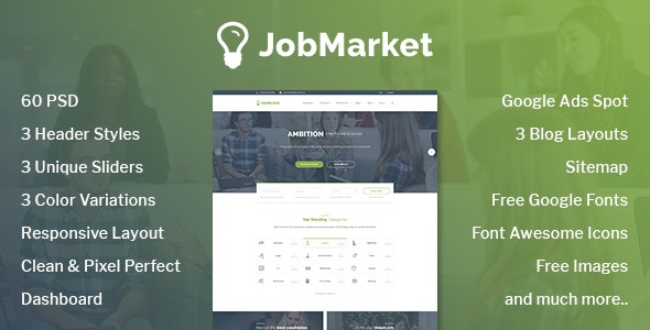JobMarket - Job Portal PSD Template (Multipurpose) - Corporate Photoshop