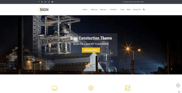 Sign - Factory   Industrial   Construction Responsive Layers WordPress Theme