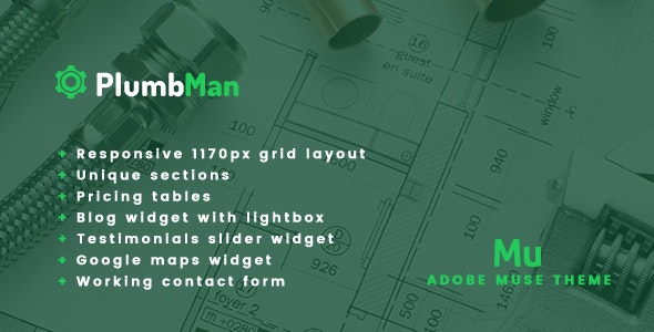Plumbman - Clean Business Theme for Plumbers, Carpenters or Handymen - Corporate Muse Templates