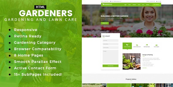 Gardening - Gardening, Lawn Care and Landscaping HTML template - Business Corporate