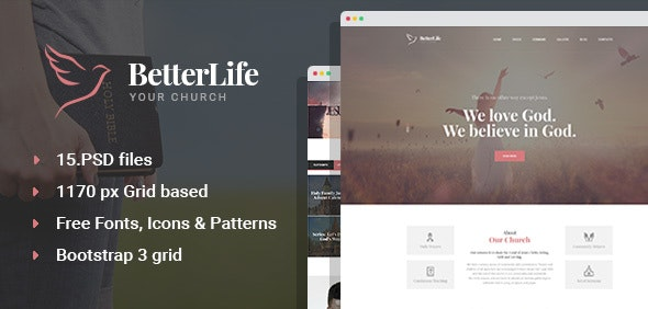 BetterLife - Church & Religious PSD template - Churches Nonprofit