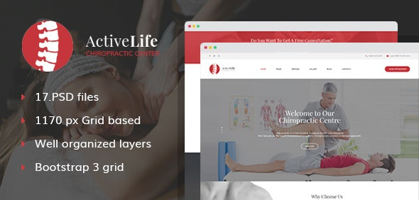 Active Life - Chiropractors and Massage PSD Template - Health & Beauty Retail