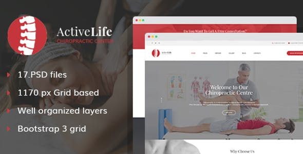 Active Life - Chiropractors and Massage PSD Template
