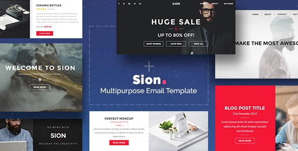 Sion - 200+ Modules Multipurpose Email + Builder Access - Newsletters Email Templates