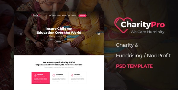 CharityPro - Charity & Fundraising PSD Template - Charity Nonprofit