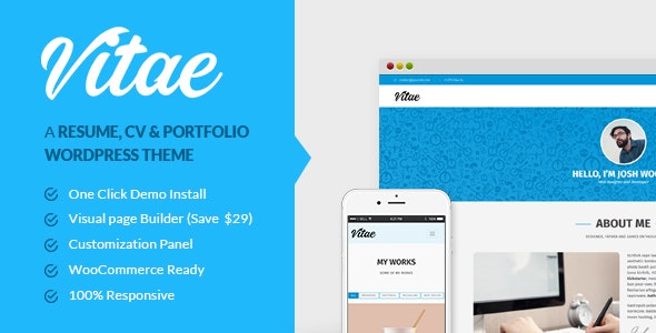 Vitae: Resume, CV & Portfolio | Personal WordPress Theme with Shop - Portfolio Creative