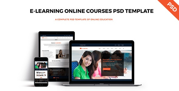 E-LEARNING Online Education PSD Template - Photoshop UI Templates