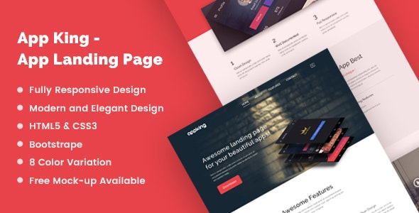 App King Responsive App Landing Page - Apps Technology