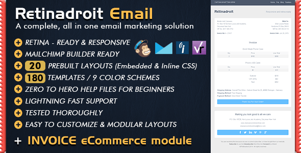 Responsive Email Template & Invoice - Mailchimp Editor Ready