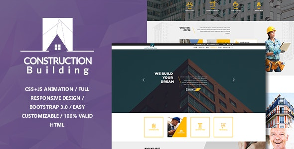 myConstruction - Bootstrap Landing Page HTML Template - Business Corporate