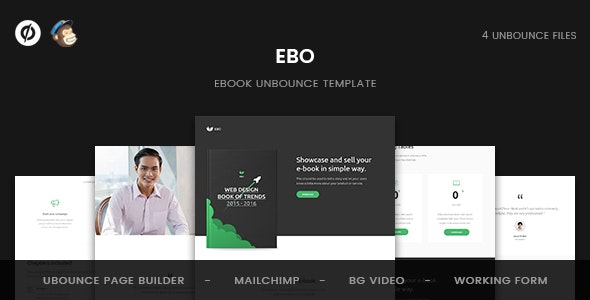 Ebo - Ebook Unbounce Template - Unbounce Landing Pages Marketing