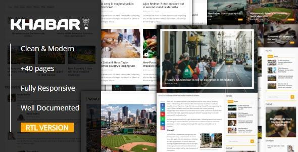 KHABAR - Responsive News Magazin Template - Entertainment Site Templates