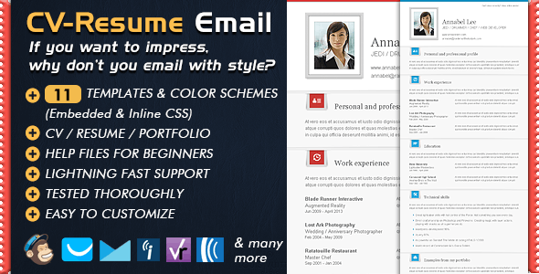 Newsletter Templates CV Folio - Email Resume - Email Templates Marketing
