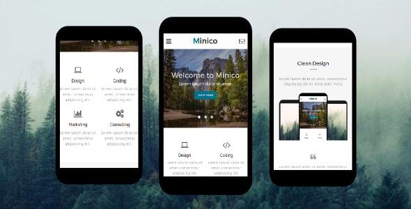 Minico – Responsive Multipurpose Mobile Template - Mobile Site Templates