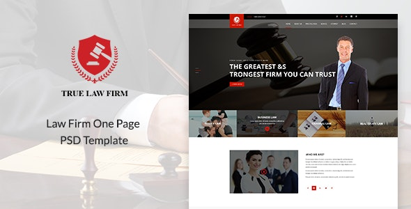 TRUE - Law Firm One Page PSD Template - Business Corporate
