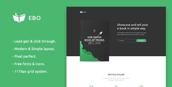 Ebo - Ebook Landing Page PSD Template - Marketing Corporate