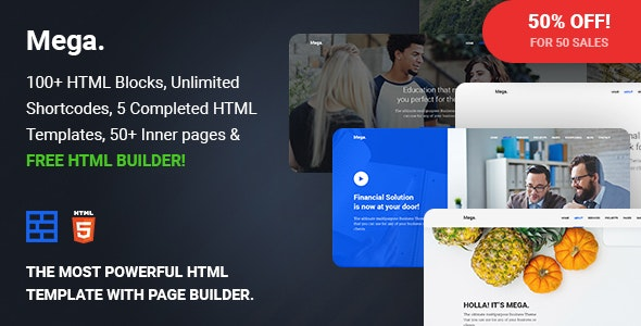 Mega - Multipurpose Responsive Template with Page Builder - Business Corporate