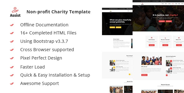 Assist- Charity, Donation & Nonprofit HTML5 Template - Charity Nonprofit