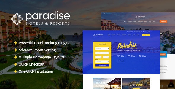 Paradise - Hotel & Resort Responsive WordPress Theme - Travel Retail