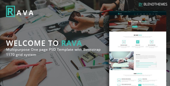 Rava - Creative One Page Multipurpose PSD Template - Corporate Photoshop