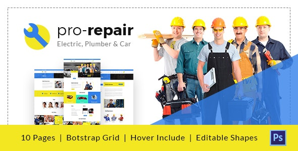 Pro Repair - Electric, Plumber and Car Service PSD Template - Business Corporate