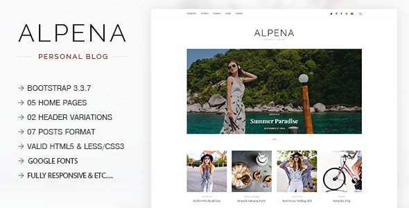 Alpena - Fashion, Lifestyle, Traveler & Storyteller Responsive Blogging Template - Personal Site Templates