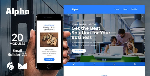 Alpha Email Template + Online Emailbuilder 2.1 - Newsletters Email Templates