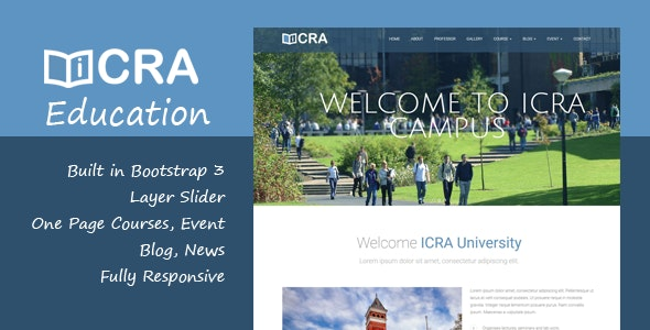 Icra Education Onepage HTML Template - Corporate Site Templates