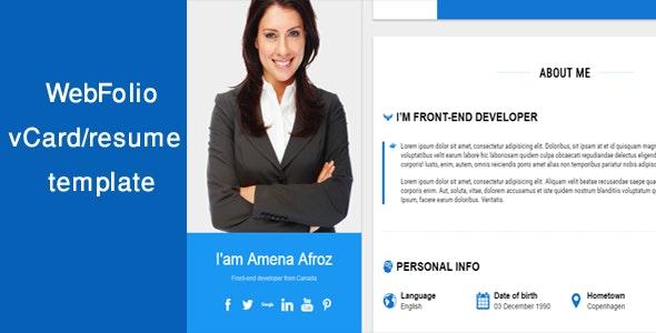 WebFolio vCard/resume template - Portfolio Creative