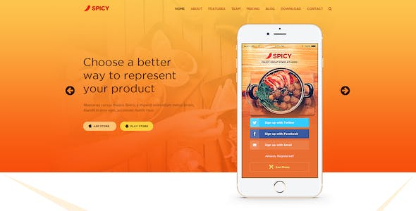 Restaurant Android App Website Templates from ThemeForest