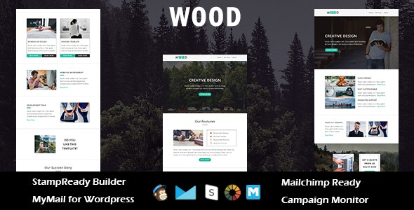Wood - Multipurpose Responsive Email Template with Stampready Builder Access - Email Templates Marketing
