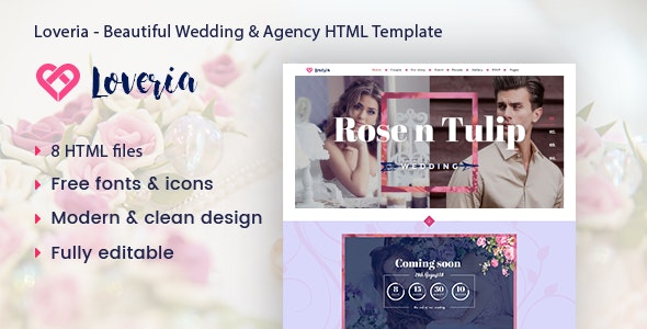Loveria - Beautiful & Awesome Wedding Template. - Wedding Site Templates