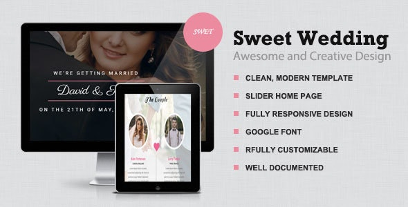 Sweet -  Responsive wedding Template - Wedding Site Templates