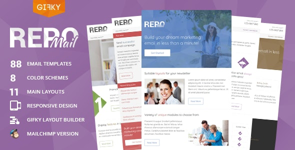 Repo Mail - Responsive Email Template + Access to Gifky Layout Builder - Newsletters Email Templates
