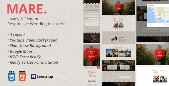 Mare - Lovely & Elegant Wedding Invitation Landing Page - Wedding Site Templates