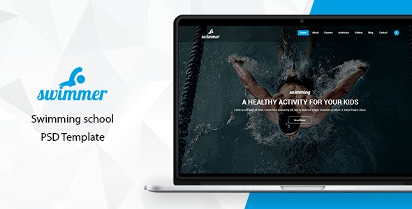 Swimmer - Swimming School PSD Template - Children Retail