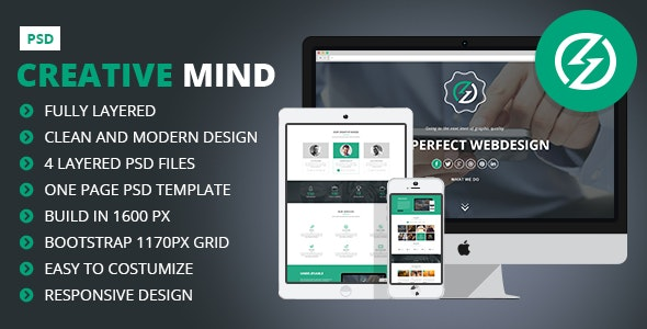 Creative Mind - Creative One Page PSD Template - Creative Photoshop