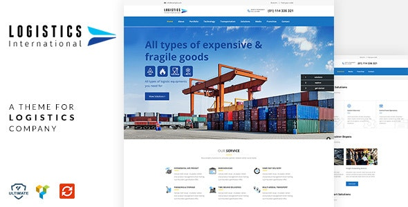 Logistics - Transport, Cargo WordPress by designthemes