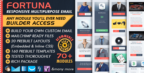 Ecommerce Email Builder - FORTUNA - Mailchimp Editor Ready - Newsletters Email Templates