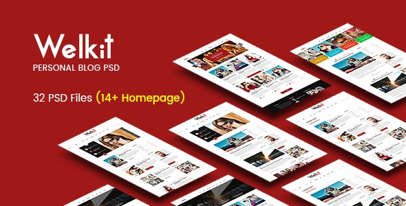 Welkit - Personal Blogging PSD Template - Personal Photoshop