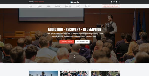 iCoach - For Coaches, Speakers, Fitness Trainers & Entrepreneurs PSD Template